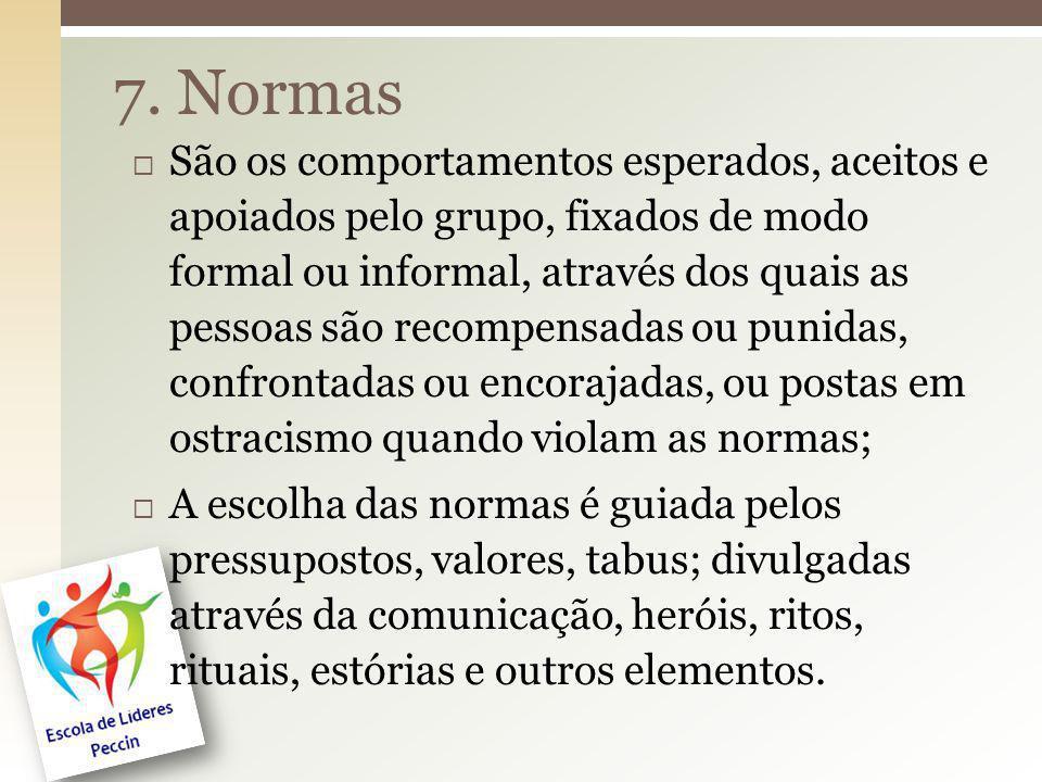 7. Normas São os comportamentos esperados, aceitos e apoiados pelo grupo, fixados de modo formal ou informal, através dos quais as pessoas são recompe