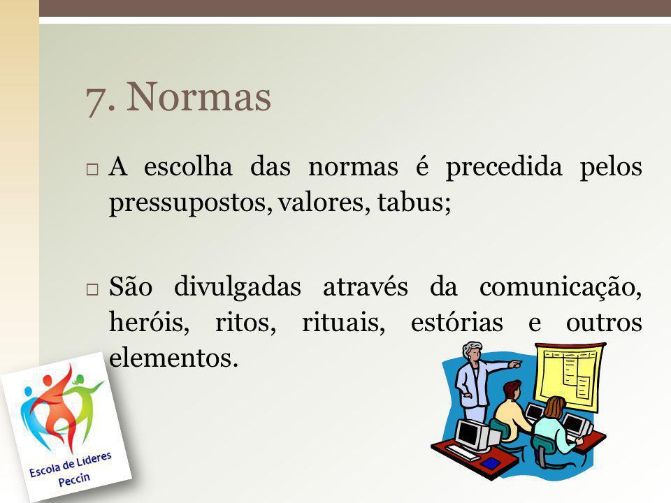 21 7. Normas A escolha das normas é precedida pelos pressupostos, valores, tabus; São divulgadas através da comunicação, heróis, ritos, rituais, estór