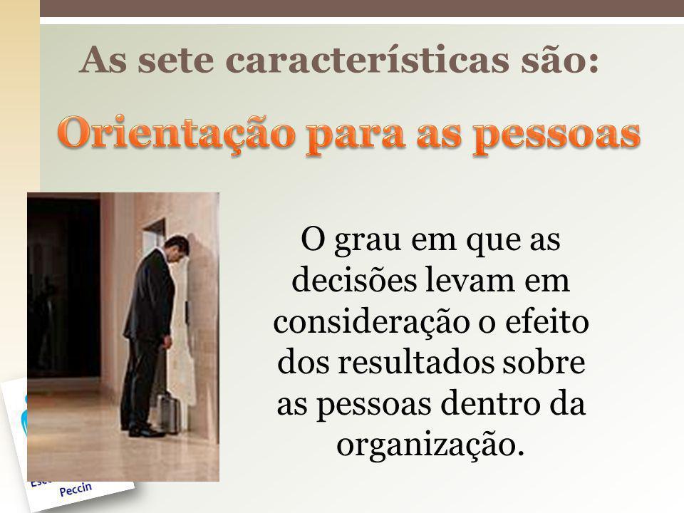 As sete características são: O grau em que as decisões levam em consideração o efeito dos resultados sobre as pessoas dentro da organização.