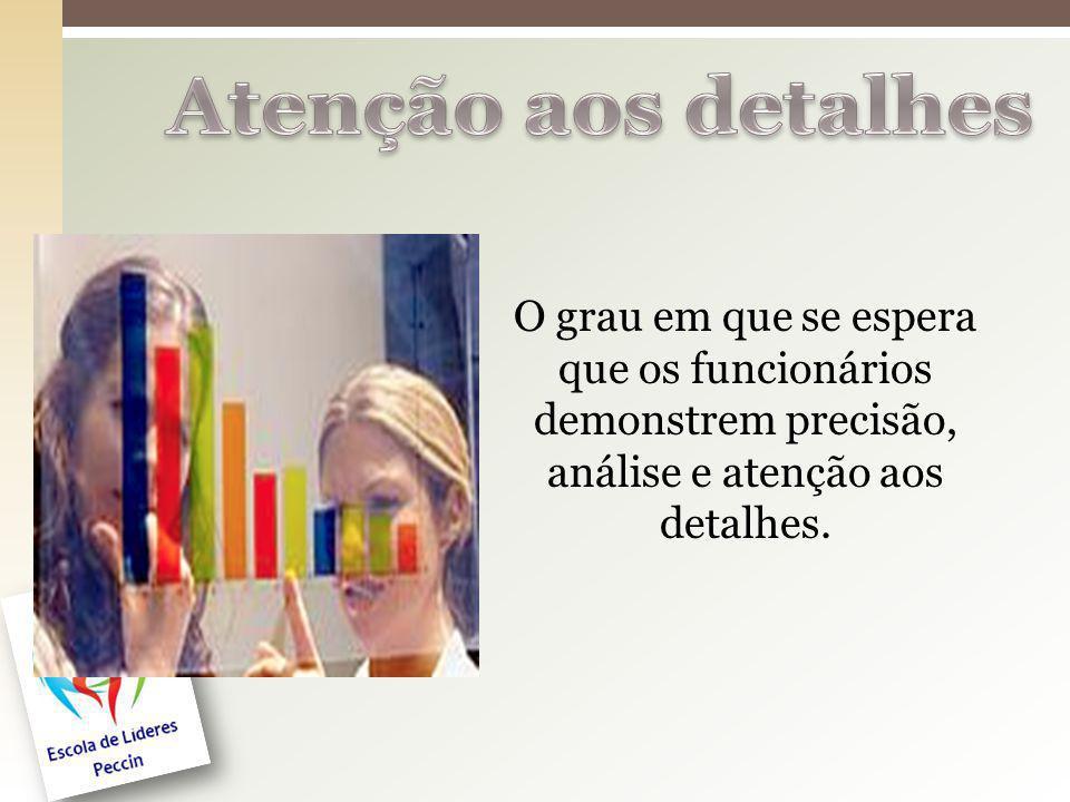 O grau em que se espera que os funcionários demonstrem precisão, análise e atenção aos detalhes.