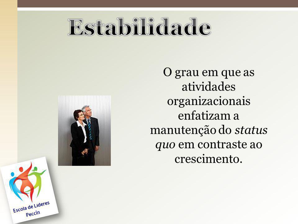 O grau em que as atividades organizacionais enfatizam a manutenção do status quo em contraste ao crescimento.