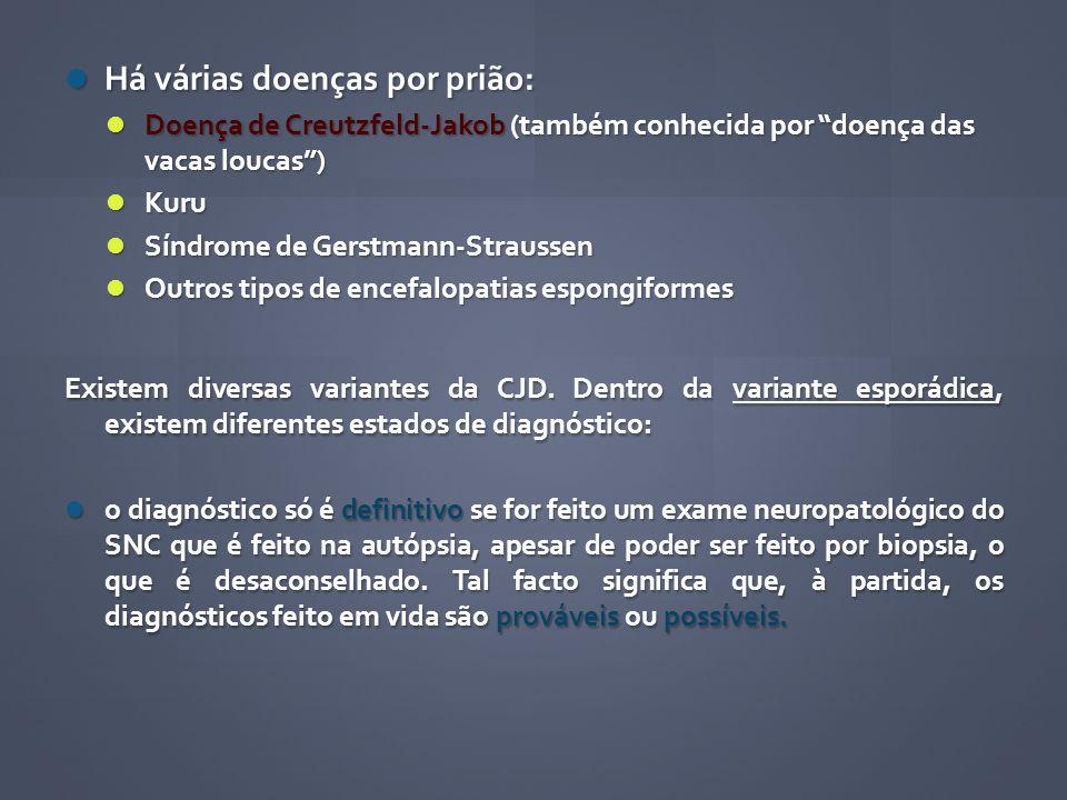 Há várias doenças por prião: Há várias doenças por prião: Doença de Creutzfeld-Jakob (também conhecida por doença das vacas loucas) Doença de Creutzfe