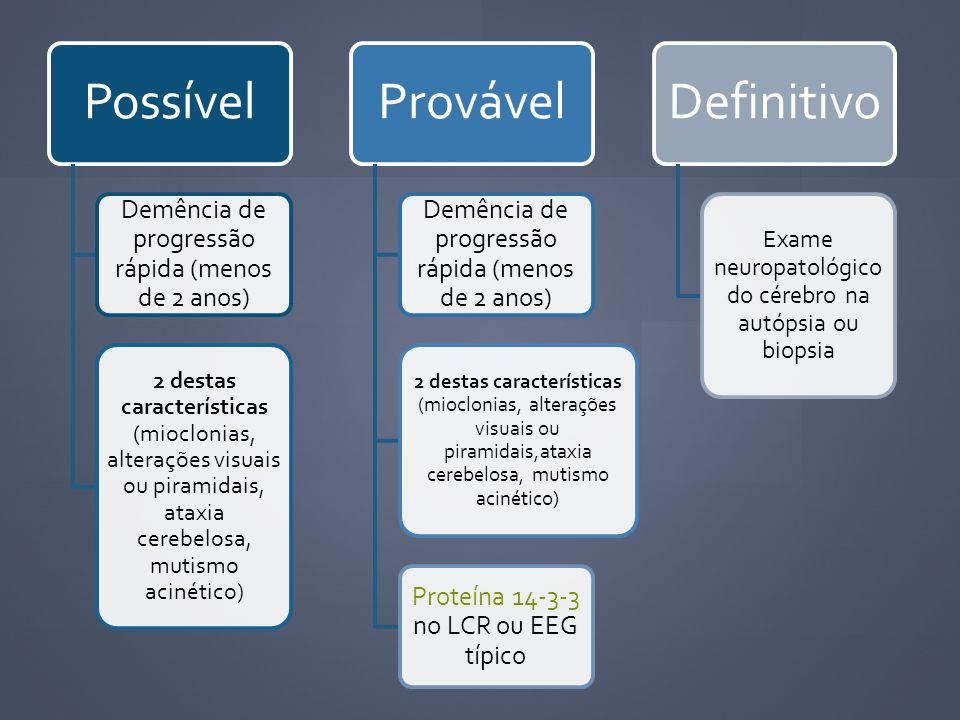 Possível Demência de progressão rápida (menos de 2 anos) 2 destas características (mioclonias, alterações visuais ou piramidais, ataxia cerebelosa, mu