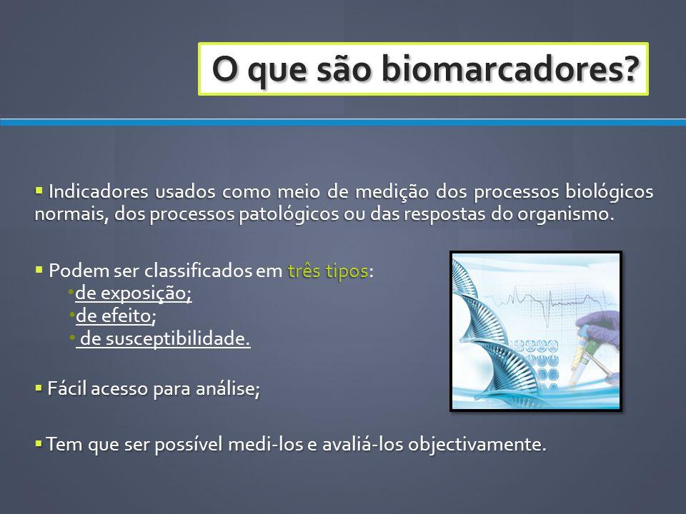 O que são biomarcadores? Indicadores usados como meio de medição dos processos biológicos normais, dos processos patológicos ou das respostas do organ
