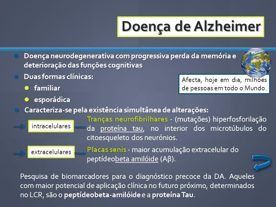 Doença de Alzheimer Placas senis Placas senis - maior acumulação extracelular do peptídeobeta amilóide (Aβ). Doença neurodegenerativa com progressiva