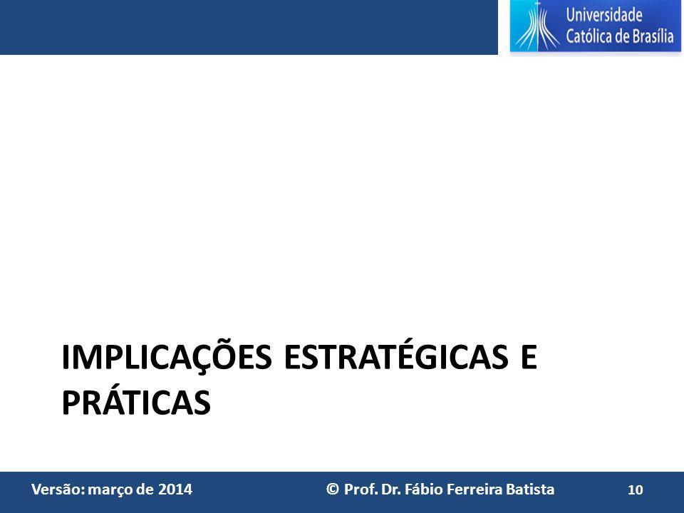 Versão: março de 2014 © Prof. Dr. Fábio Ferreira Batista IMPLICAÇÕES ESTRATÉGICAS E PRÁTICAS 10
