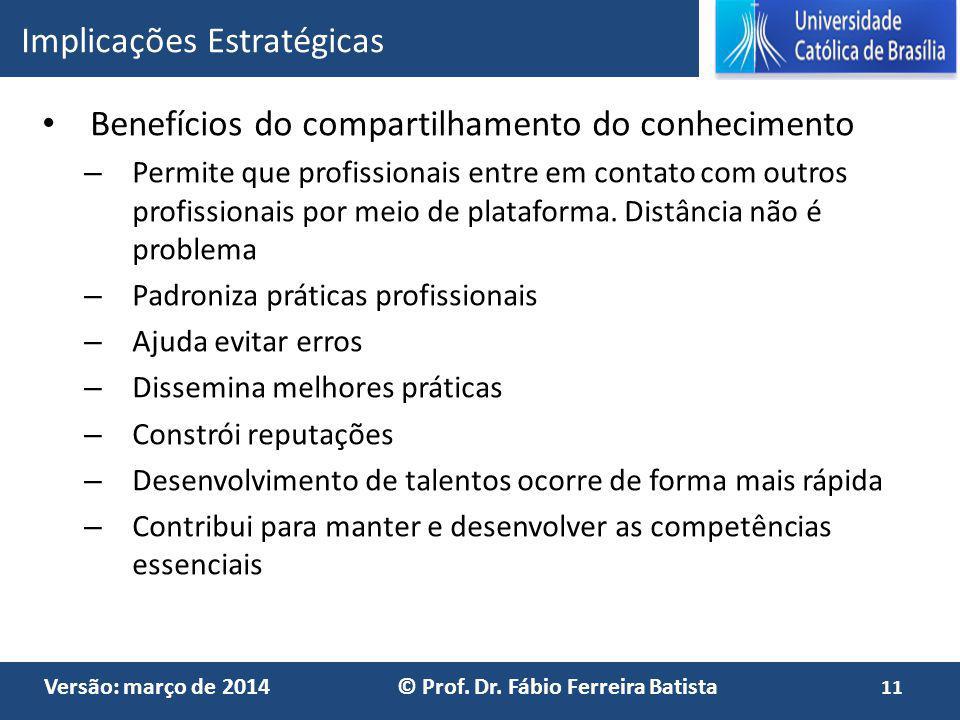 Versão: março de 2014 © Prof. Dr. Fábio Ferreira Batista Benefícios do compartilhamento do conhecimento – Permite que profissionais entre em contato c