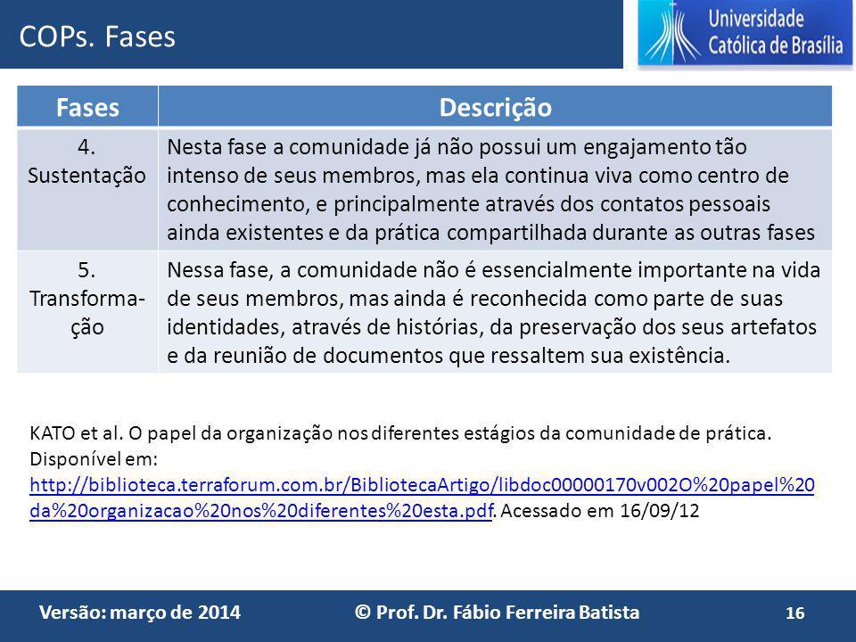 Versão: março de 2014 © Prof. Dr. Fábio Ferreira Batista FasesDescrição 4. Sustentação Nesta fase a comunidade já não possui um engajamento tão intens