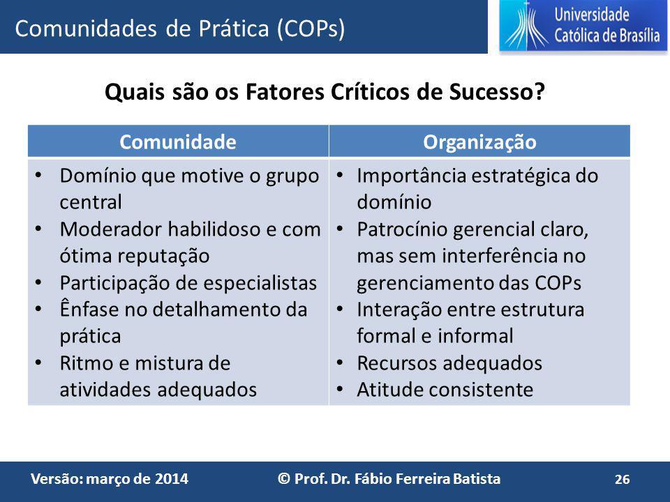 Versão: março de 2014 © Prof. Dr. Fábio Ferreira Batista Comunidades de Prática (COPs) ComunidadeOrganização Domínio que motive o grupo central Modera