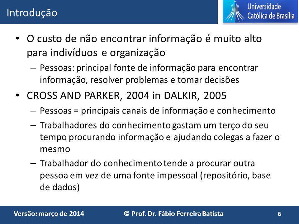 Versão: março de 2014 © Prof. Dr. Fábio Ferreira Batista O custo de não encontrar informação é muito alto para indivíduos e organização – Pessoas: pri