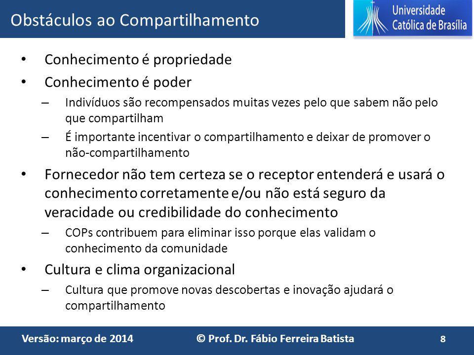 Versão: março de 2014 © Prof. Dr. Fábio Ferreira Batista Conhecimento é propriedade Conhecimento é poder – Indivíduos são recompensados muitas vezes p