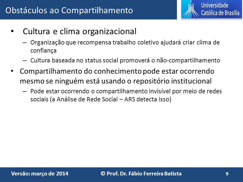 Versão: março de 2014 © Prof. Dr. Fábio Ferreira Batista Cultura e clima organizacional – Organização que recompensa trabalho coletivo ajudará criar c