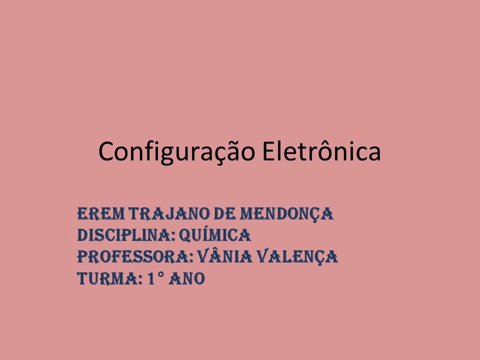 Configuração Eletrônica EREM TRAJANO DE MENDONÇA Disciplina: Química Professora: Vânia Valença Turma: 1° ano