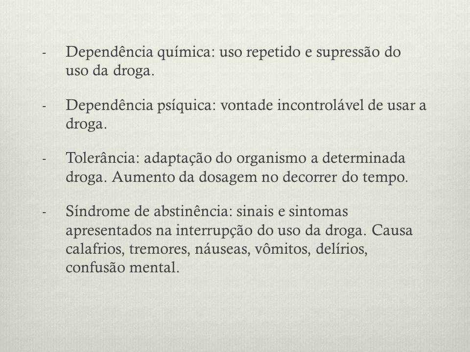 - Dependência química: uso repetido e supressão do uso da droga.