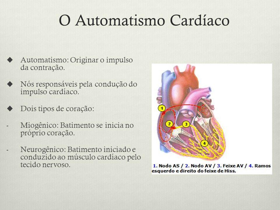 O Automatismo Cardíaco Automatismo: Originar o impulso da contração.