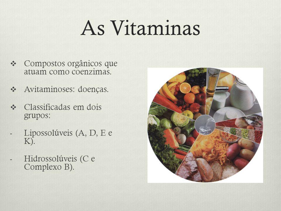 As Vitaminas Compostos orgânicos que atuam como coenzimas.
