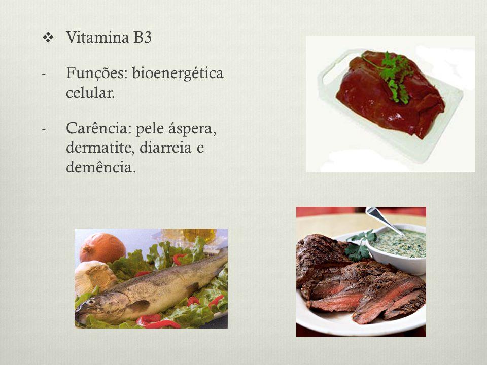 Vitamina B3 - Funções: bioenergética celular.