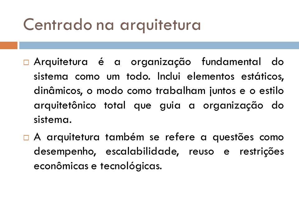 Centrado na arquitetura Arquitetura é a organização fundamental do sistema como um todo.