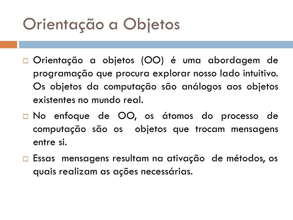 Orientação a Objetos Orientação a objetos (OO) é uma abordagem de programação que procura explorar nosso lado intuitivo.