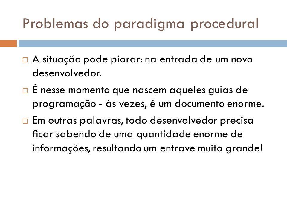 Problemas do paradigma procedural Outra situação é quando nos encontramos na necessidade de ler o código que foi escrito por outro desenvolvedor e descobrir como ele funciona internamente.