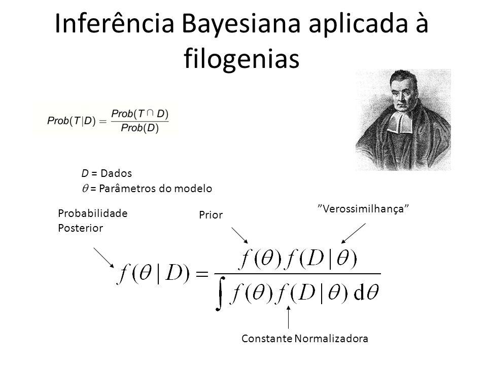 Probabilidade Posterior Prior Verossimilhança Constante Normalizadora D = Dados = Parâmetros do modelo Inferência Bayesiana aplicada à filogenias