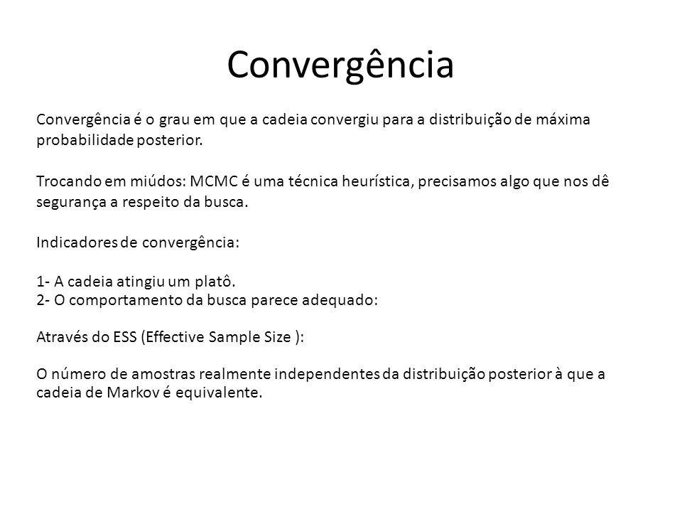 Convergência Convergência é o grau em que a cadeia convergiu para a distribuição de máxima probabilidade posterior. Trocando em miúdos: MCMC é uma téc