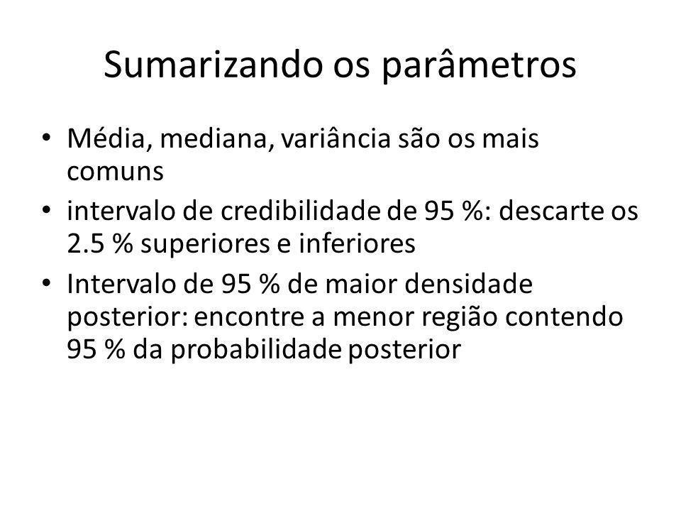 Sumarizando os parâmetros Média, mediana, variância são os mais comuns intervalo de credibilidade de 95 %: descarte os 2.5 % superiores e inferiores I