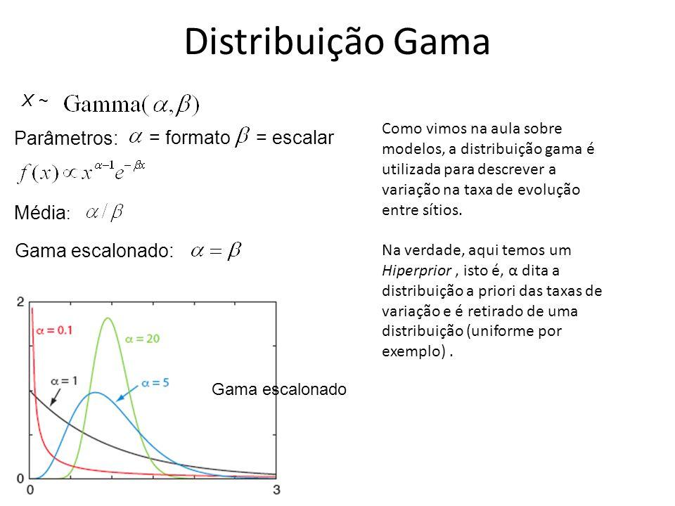 Média : = formato X ~ Parâmetros: = escalar Gama escalonado: Gama escalonado Distribuição Gama Como vimos na aula sobre modelos, a distribuição gama é
