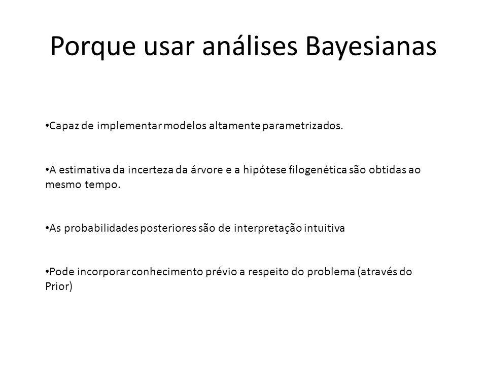 Porque usar análises Bayesianas Capaz de implementar modelos altamente parametrizados. A estimativa da incerteza da árvore e a hipótese filogenética s