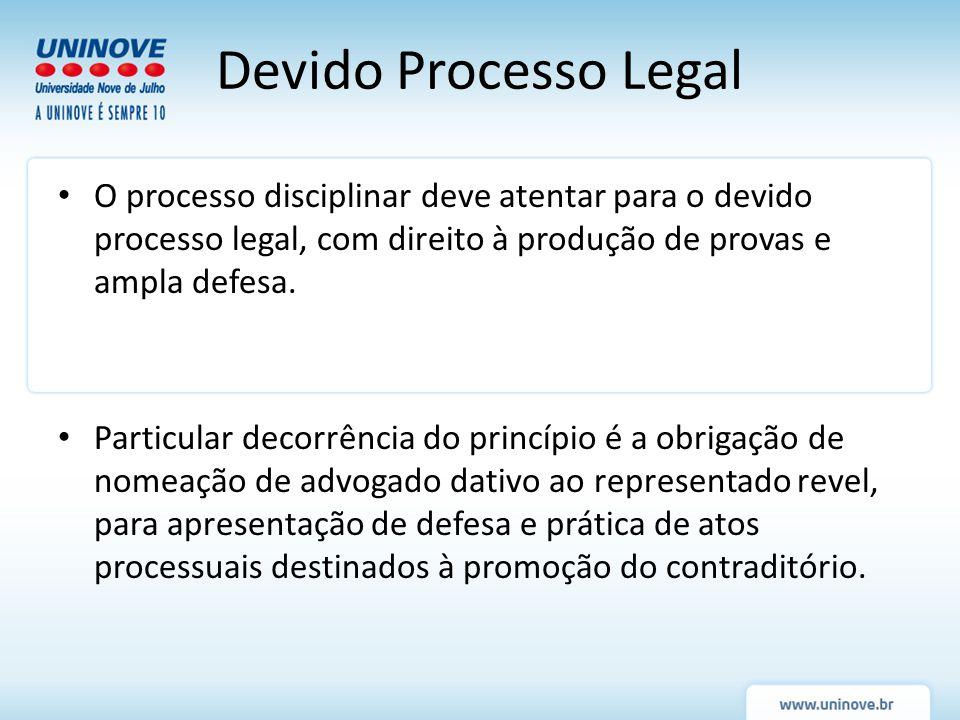 Devido Processo Legal O processo disciplinar deve atentar para o devido processo legal, com direito à produção de provas e ampla defesa. Particular de