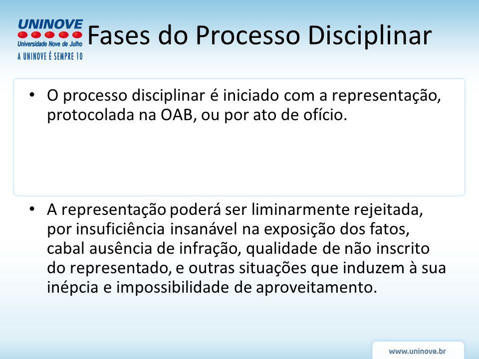 Fases do Processo Disciplinar O processo disciplinar é iniciado com a representação, protocolada na OAB, ou por ato de ofício. A representação poderá