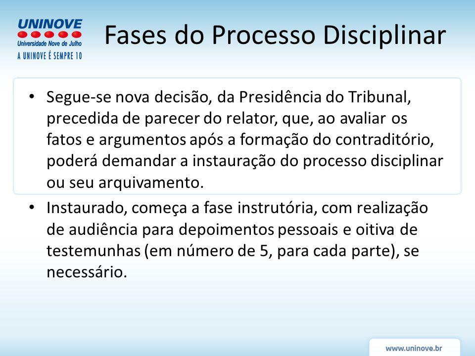 Fases do Processo Disciplinar Segue-se nova decisão, da Presidência do Tribunal, precedida de parecer do relator, que, ao avaliar os fatos e argumento
