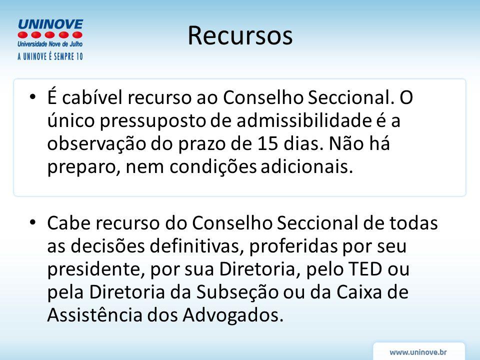 Recursos É cabível recurso ao Conselho Seccional. O único pressuposto de admissibilidade é a observação do prazo de 15 dias. Não há preparo, nem condi