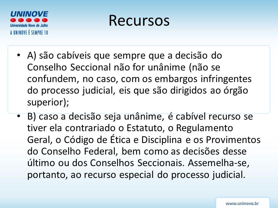 Recursos A) são cabíveis que sempre que a decisão do Conselho Seccional não for unânime (não se confundem, no caso, com os embargos infringentes do pr