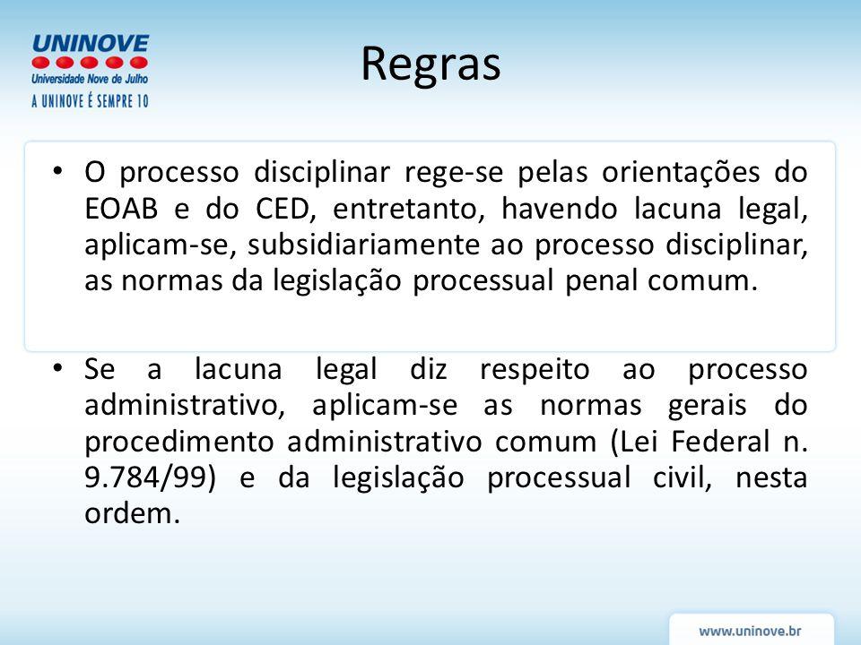 Regras O processo disciplinar rege-se pelas orientações do EOAB e do CED, entretanto, havendo lacuna legal, aplicam-se, subsidiariamente ao processo d