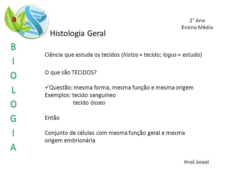 Histologia Geral Ciência que estuda os tecidos (histos = tecido; logus = estudo) O que são TECIDOS? Questão: mesma forma, mesma função e mesma origem