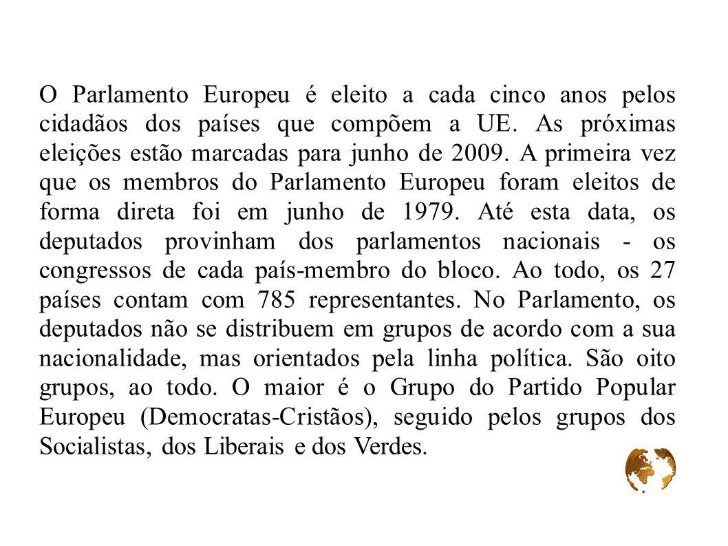 O Parlamento Europeu é eleito a cada cinco anos pelos cidadãos dos países que compõem a UE. As próximas eleições estão marcadas para junho de 2009. A
