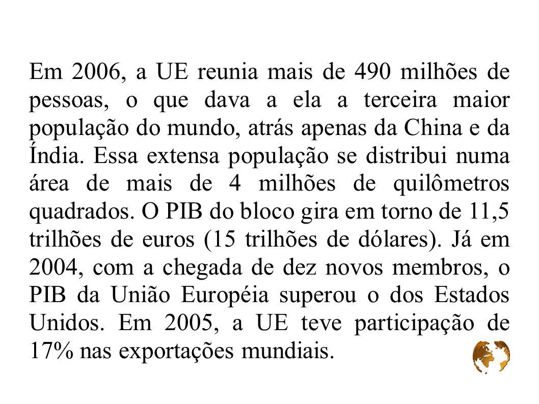 Em 2006, a UE reunia mais de 490 milhões de pessoas, o que dava a ela a terceira maior população do mundo, atrás apenas da China e da Índia. Essa exte