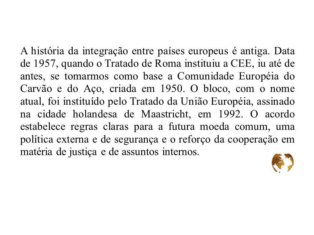 A história da integração entre países europeus é antiga. Data de 1957, quando o Tratado de Roma instituiu a CEE, iu até de antes, se tomarmos como bas