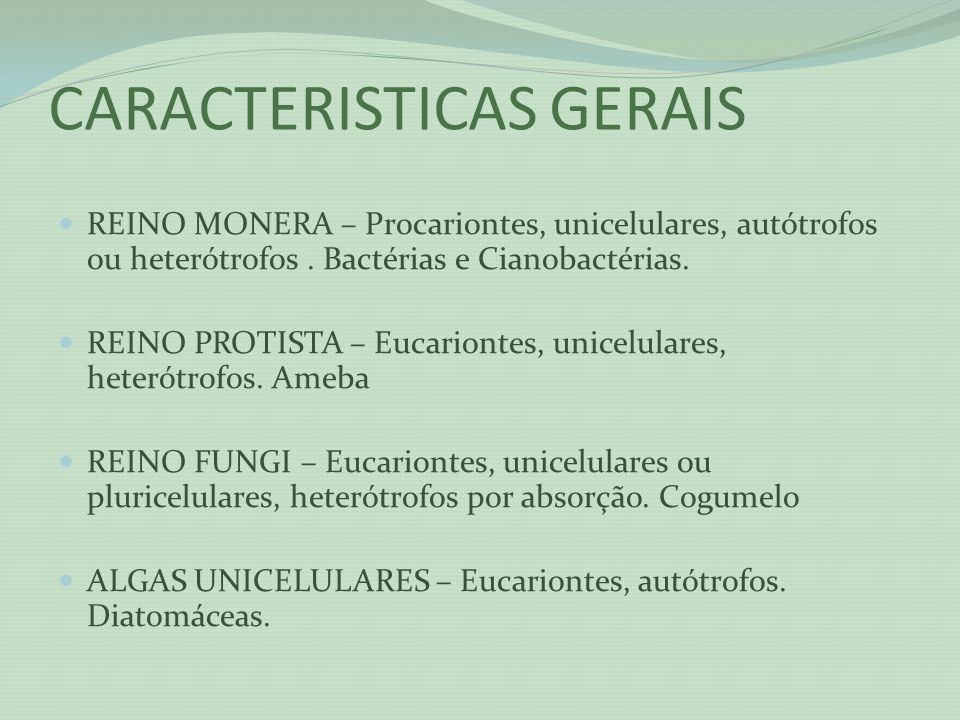 CARACTERISTICAS GERAIS REINO MONERA – Procariontes, unicelulares, autótrofos ou heterótrofos. Bactérias e Cianobactérias. REINO PROTISTA – Eucariontes