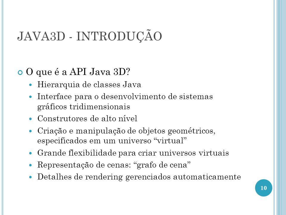 JAVA3D - INTRODUÇÃO O que é a API Java 3D? Hierarquia de classes Java Interface para o desenvolvimento de sistemas gráficos tridimensionais Construtor
