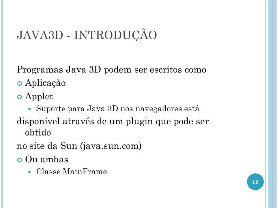 JAVA3D - INTRODUÇÃO Programas Java 3D podem ser escritos como Aplicação Applet Suporte para Java 3D nos navegadores está disponível através de um plug