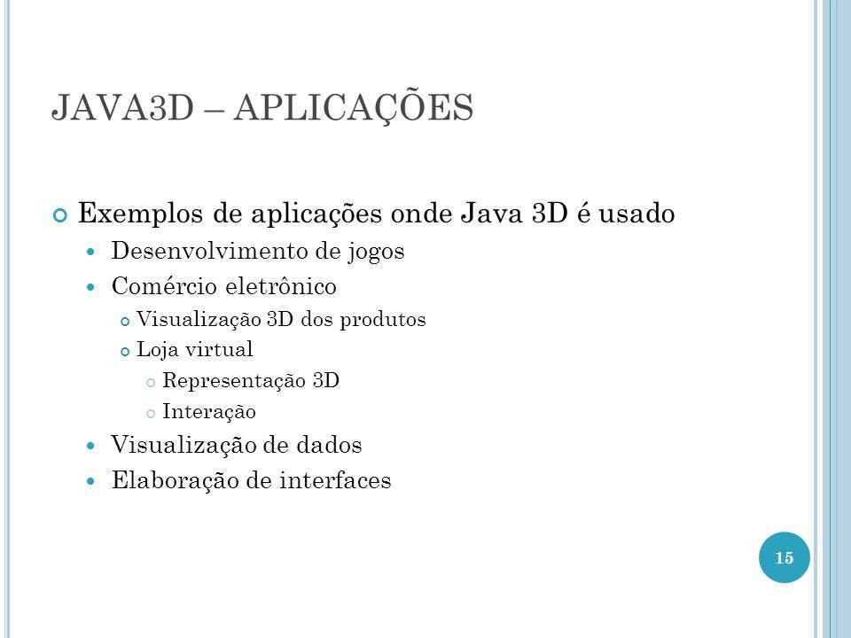 JAVA3D – APLICAÇÕES Exemplos de aplicações onde Java 3D é usado Desenvolvimento de jogos Comércio eletrônico Visualização 3D dos produtos Loja virtual