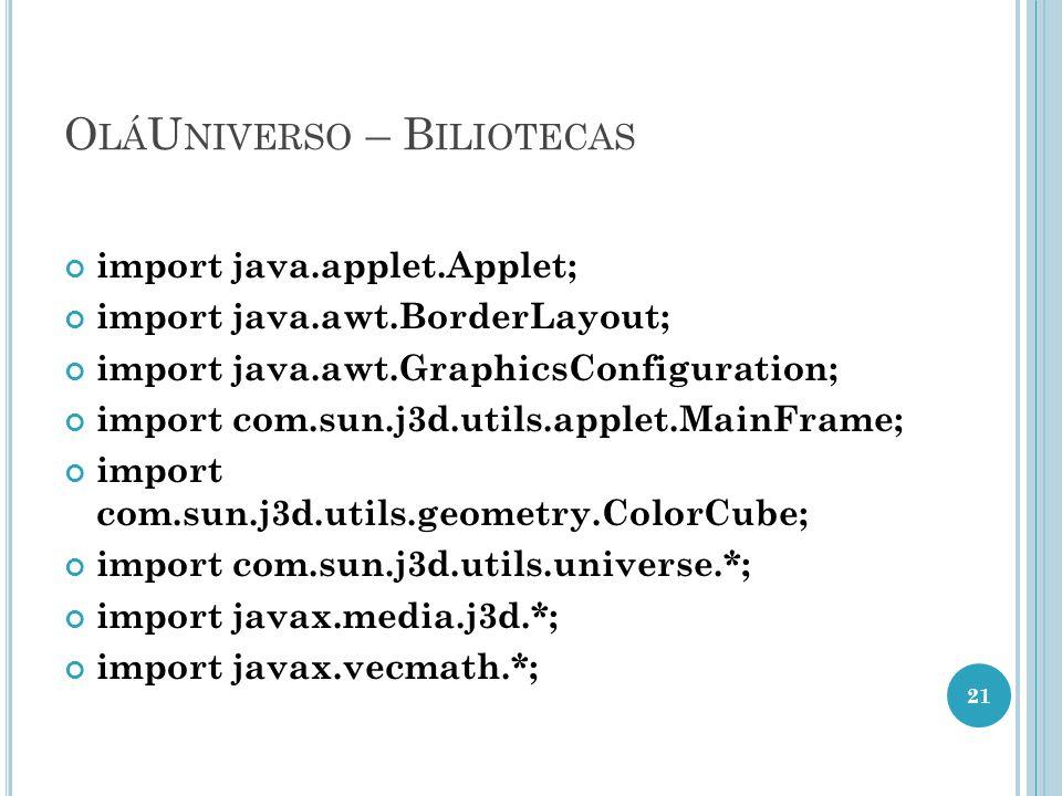 O LÁ U NIVERSO – B ILIOTECAS import java.applet.Applet; import java.awt.BorderLayout; import java.awt.GraphicsConfiguration; import com.sun.j3d.utils.