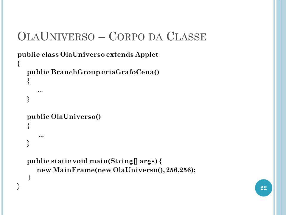 O LA U NIVERSO – C ORPO DA C LASSE public class OlaUniverso extends Applet { public BranchGroup criaGrafoCena() {... } public OlaUniverso() {... } pub