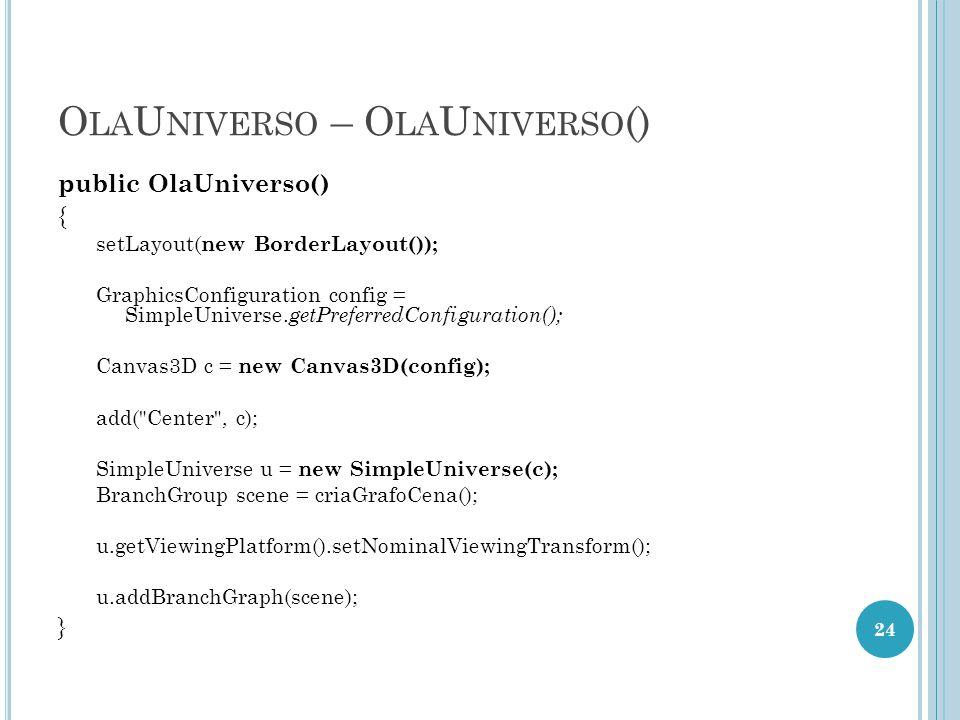 O LA U NIVERSO – O LA U NIVERSO () public OlaUniverso() { setLayout( new BorderLayout()); GraphicsConfiguration config = SimpleUniverse. getPreferredC