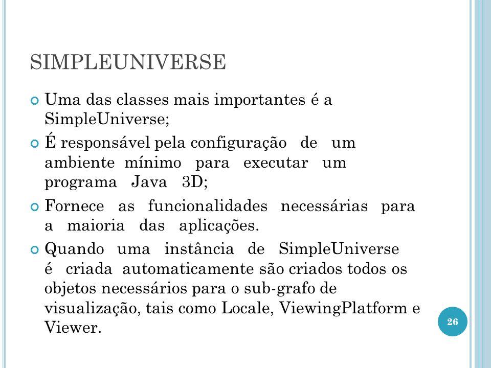 SIMPLEUNIVERSE Uma das classes mais importantes é a SimpleUniverse; É responsável pela configuração de um ambiente mínimo para executar um programa Ja