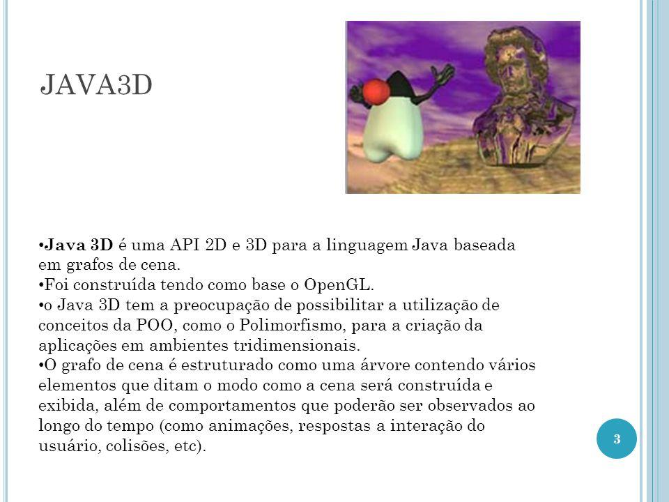 JAVA3D 3 Java 3D é uma API 2D e 3D para a linguagem Java baseada em grafos de cena. Foi construída tendo como base o OpenGL. o Java 3D tem a preocupaç
