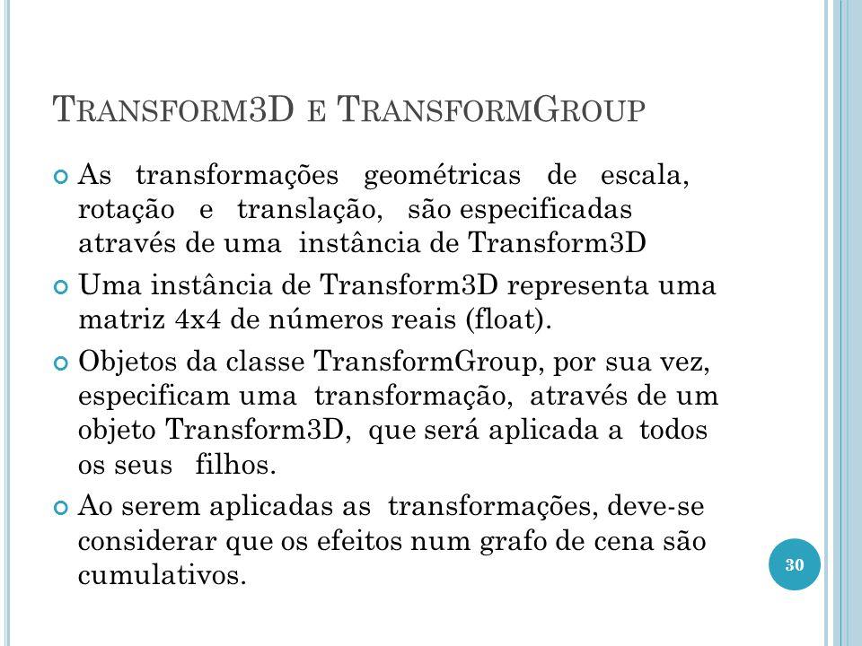 T RANSFORM 3D E T RANSFORM G ROUP As transformações geométricas de escala, rotação e translação, são especificadas através de uma instância de Transfo