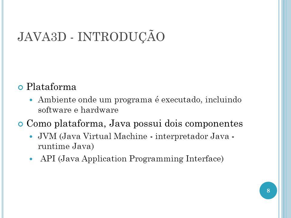 JAVA3D - INTRODUÇÃO Plataforma Ambiente onde um programa é executado, incluindo software e hardware Como plataforma, Java possui dois componentes JVM